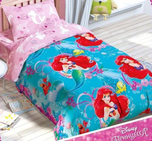 """Детское постельное белье полутороспальное """"Принцессы: Русалочка Ариэль"""" Дисней (Disney, садик)"""