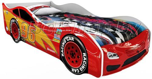 Детская кровать машина для ребенка Форсаж Премиум 3D красный