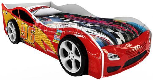 Детская кровать машина для ребенка Форсаж Премиум 3D красный с 2 колесами