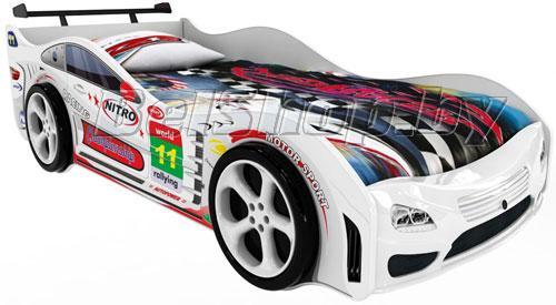 Детская кровать машина для ребенка Турбо Престиж белый с 2 колесами и спойлером