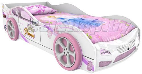 Детская кровать машина для девочки Принцесса Престиж с 2 колесами