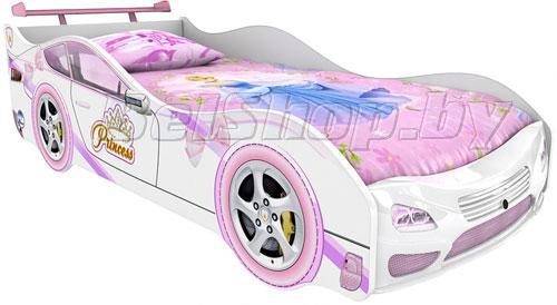 Детская кровать машина для девочки Принцесса Престиж со спойлером