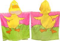 """Детское махровое полотенце-накидка пончо """"Утенок"""" розовое с капюшоном 60х60+25"""