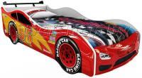Детская кровать машина для ребенка Форсаж Премиум 3D красный со спойлером