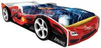 Детская кровать машина для ребенка Формула Премиум 3D красная с 2 колесами