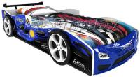 Детская кровать машина для ребенка Формула Премиум 3D синяя с 2 колесами и спойлером